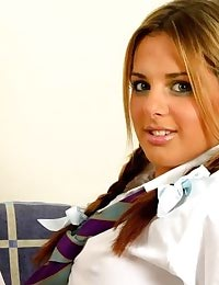 Brooke in college uniform with stockings
