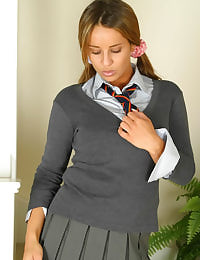 Sultry brunette Kim in college uniform with wool pantyhose
