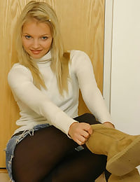 Sexy Sam K in white poloneck and patterened pantyhose