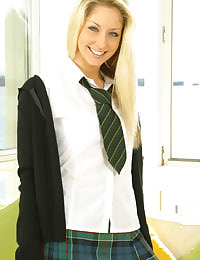 Blonde Yazmin in college uniform with socks
