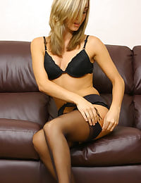 Mel in black stockings looking amazing