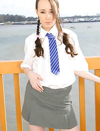 Laura J in college uniform with white ankle socks