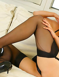Blonde Jo Guest in lingerie and stockings