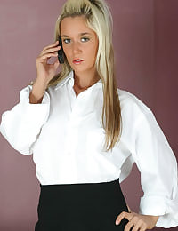 Carman K dressed as a sexy secretary in a white shirt