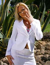 Sandra in stunning white suit