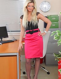Zuziana in tight pink pencil skirt revealing a gorgeous pink thong