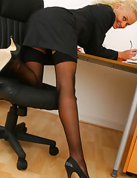 Blonde Karen in her Secretary outfit with sheer lingerie and stockings