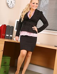 Sexy secretary strips after a long
