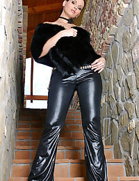 Leather and fur make her purr!