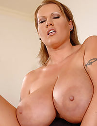Boss lady enjoys her breasts!