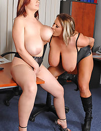Lesbian office babes toying