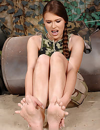 Hot babe's footjob in uniform