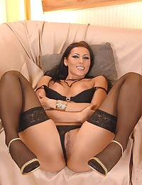 Hot brunette Lora in stockings
