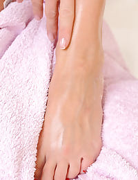 Soapy toes in the tub