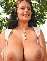Busty Rebecca Jessop outdoors
