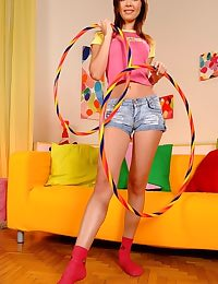 Hula hoop teen in socks