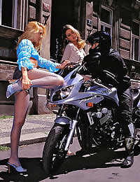 Hot chicks banged by a biker