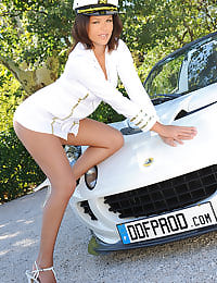 Luscious Linet posing outdoors