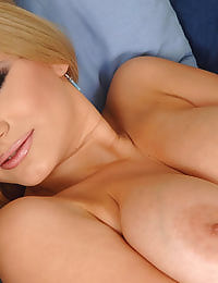 Busty blond babe fingering