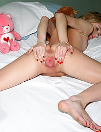 Kelly Klass Shows Off Flexibility Before Spreading to Reveal Cervix  with her shaved pussy