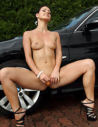 After a Carwash Euro Babe Melissa Pleasures Herself with her shaved pussy
