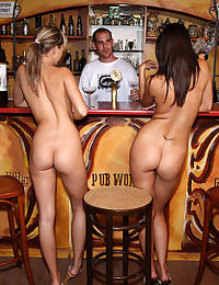 Klaudia and Blue Angel Hook Up at a Bar with her shaved pussy