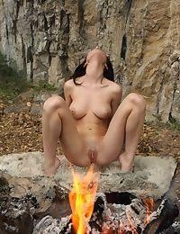 Helen H Trimmed Pussy by the Fire