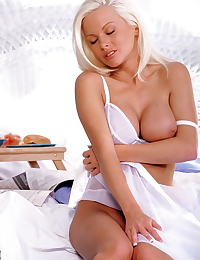 Chloe Jones in Blondey in white robe and bra with breaktfast in bed