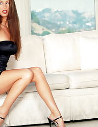 Nikki Nova in Black dress and panty and bra with mountain view