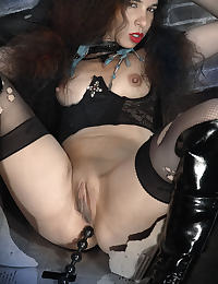 Comic style photoset, with dildos, pantyhose, boots and corset