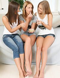 Three sweet teens lick and finger