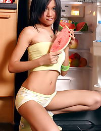 Asian cho hye eun 24 innocent kitchen fruit fridge