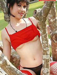 Beau Suni Strips Red Slip Outdoors