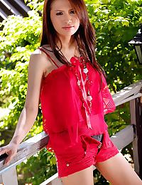 Anna Kaew Strips Red Outfit And Spreads Legs