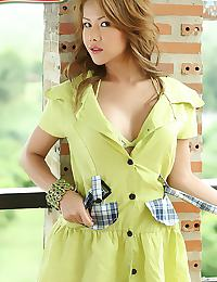 Big Breasts of Cherry Chen Strips Summer Dress
