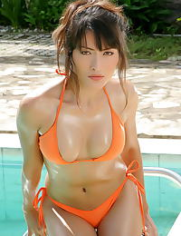 Asian kaila wang 06 bikini water hard nipples